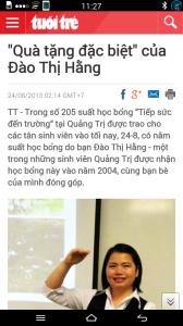 Món quà của Đào Thị Hằng đến tân sinh viên nghèo 2013